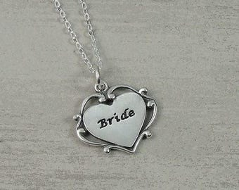 Bride Necklace, Sterling Silver Heart Shaped Bride Charm on a Silver Cable Chain
