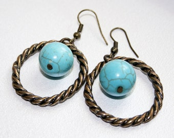 Metal Earrings Turquoise Earrings Boho hoop Earrings Long Boho Earrings gold turquoise earrings Inspired Earrings Sterling Turquoise Earring