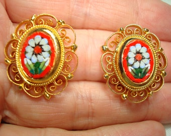 1970s Micro Mosaic Glass White and Red Flower Earrings.
