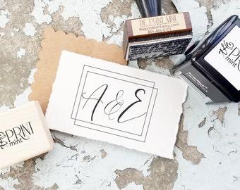 Wedding Stamp, Initial Stamp, Monogram Wedding Stamp, calligraphy, Wedding Favor Stamp, Calligraphy Stamp,  Wedding Rubber Stamp 10240
