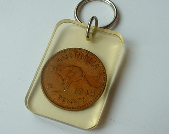 Vintage perspex key fob with Australian penny
