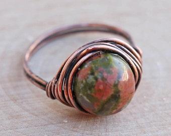 Unakite Jasper Ring, Jasper Ring, Crystal Ring, Gemstone Ring, Gemstone Jewelry, Wire Wrapped Crystal