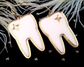 Tooth Teeth Mirrored Gold and White Earrings, Laser Cut Acrylic, Plastic Jewelry