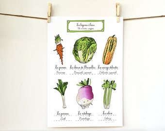 Food Art print Kitchen Poster 'Winter vegetables' 13x19 Modern French kitchen (French food) Gift for a Chef GeraldineAdams
