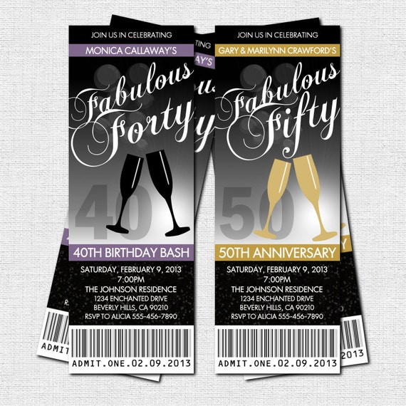 milestone birthday or anniversary party ticket invitations