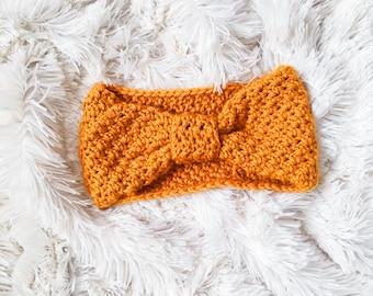 Crochet Turban Headwrap in Gold