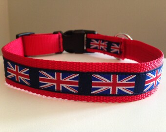 Red with British/English Union Jack Flag Large 1 inch Dog Collar