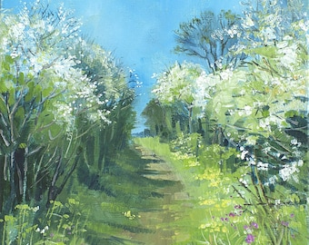 Giclee print, original springtime landscape, primroses, blackthorn, cornish art, made in cornwall, footpaths