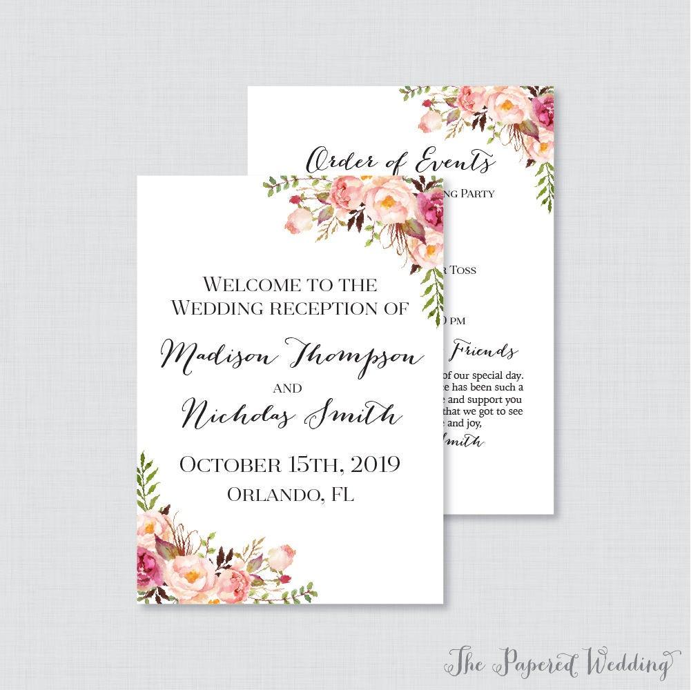 Wedding Reception Program: Printable OR Printed Wedding Reception Program Pink Floral