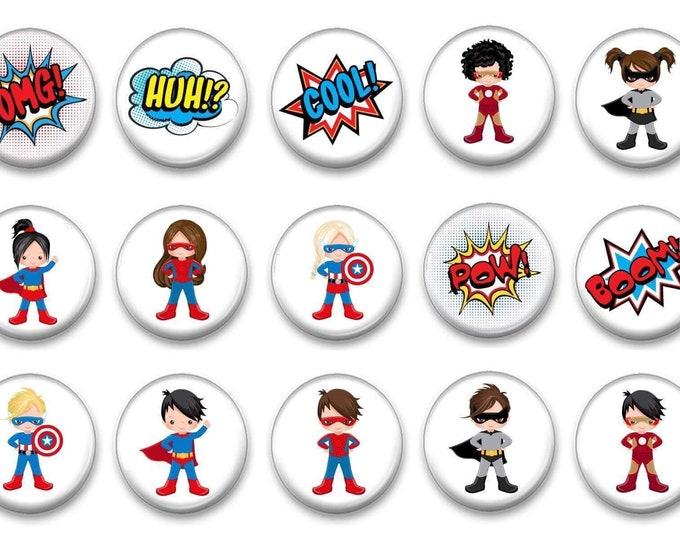 Superhero Kids Refrigerator Magnets Preschool Activities - Fine Motor Skills - Girl Power - African American - Party Favors - Easter Basket