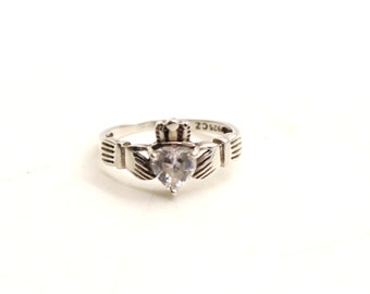 Sterling Silver Claddagh CZ Ring sz.M 1/2 US 6 3/4 Vintage Fine Jewelry Sweetheart gift Irish symbol of Love Loyalty Friendship