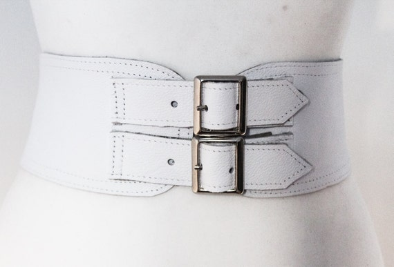 White Corset Leather Two Silver Buckle Belt White Belt