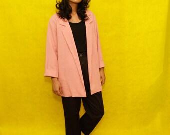 Vintage Light Pink Long Blazer