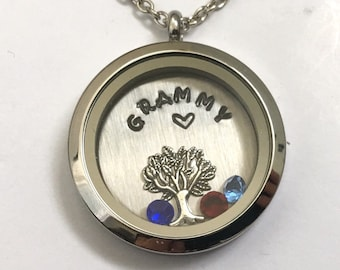 GRAMMY - Custom Floating Charm Locket - Memory Locket - Custom Hand Stamped Gift for Mom