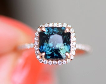 Peacock sapphire engagement ring. 3.54ct square cushion cut blue green sapphire ring diamond ring 14k Rose gold ring by Eidelprecious