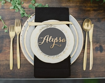 """Name Place Setting - Wood Place Name  - Wood Wedding Place Setting - Please Enter your phone number in the """"NOTE to the seller"""""""