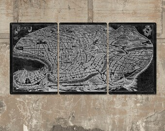 """Vintage Map of Rome METAL triptych 60x30"""" FREE SHIPPING"""