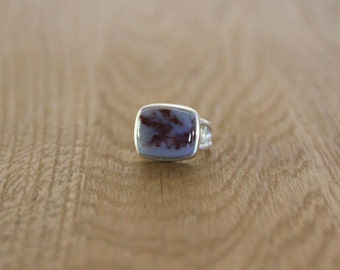 Red Plume Agate and Sterling Silver Ring. Size 7.25.
