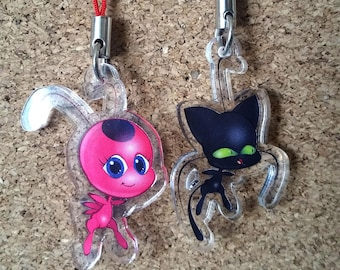 Tikki and Plagg - (Miraculous Ladybug) Hand-Drawn Acrylic Charms