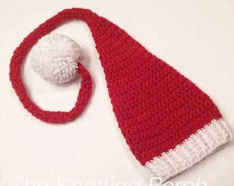 Newborn Santa Hat, Long Tail Elf Hat, Santa Hat, Elf Hat, Newborn Photo Outfit, Christmas Newborn Outfit, Stocking Hat, Holiday