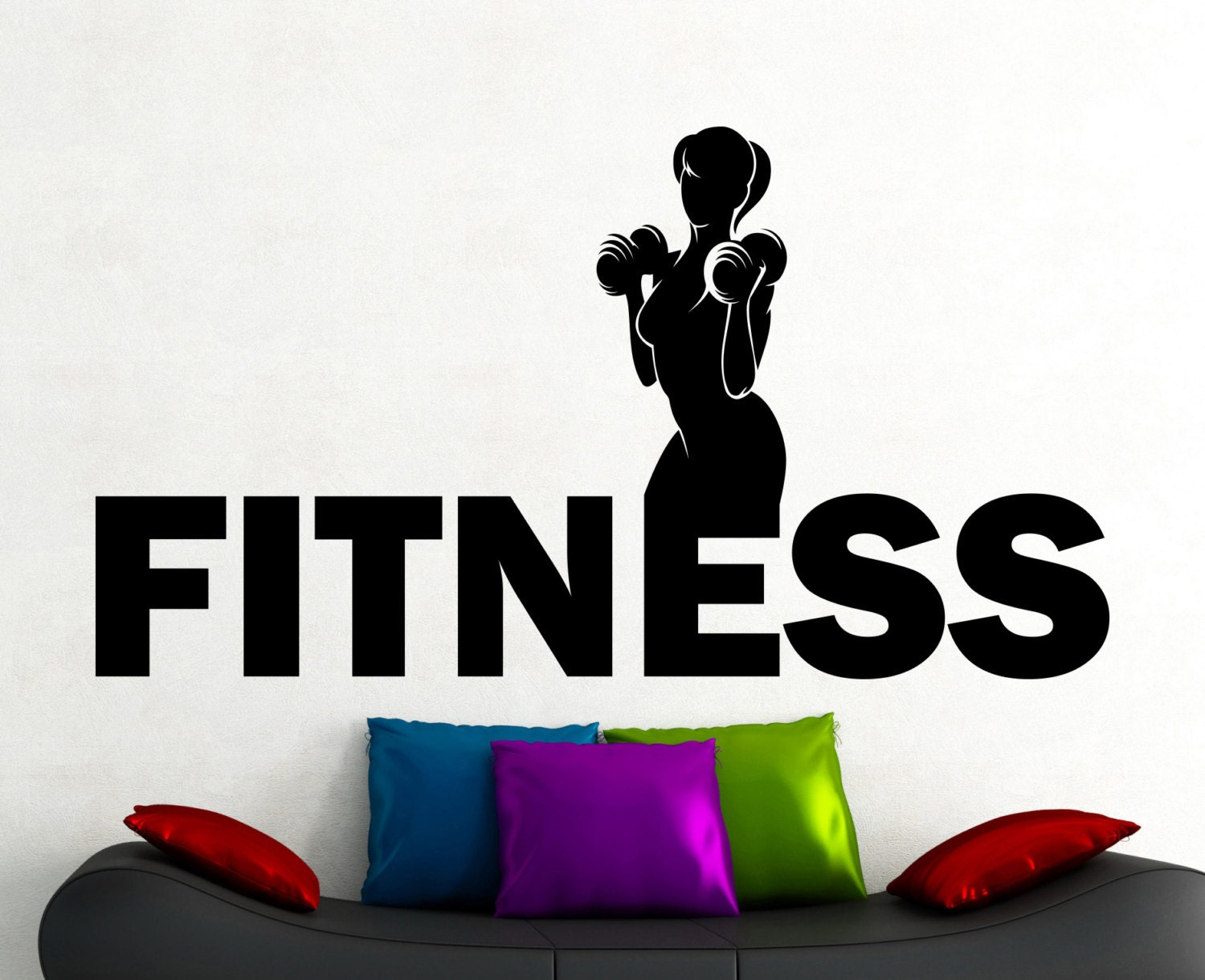 Fitness Wall Decal Gym Vinyl Stickers Sports Room Decor Home