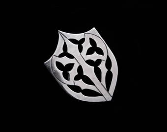 Sterling Silver Shield Pin - Small Gothic Axe Armour Lapel Collar Jacket Hat Tie Brooch - KNIGHT ERRANT