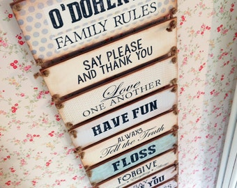 Personalised Family Rules Sign, House Rules, In this house, New Home Gift, Wedding Gift