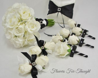 Black and White Bridal Package,Real Touch Roses, Silk Flowers, Elegant Weddingng Bouquet, FFT original design, Made to Order