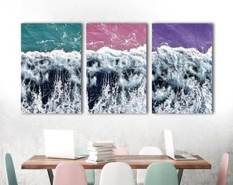 Coastal Print Set, Set of 3 Prints, Wall Art Set of 3, Ocean Print, Large Wall Art, Triptych Wall Art, 3 Piece Wall Art, Beach House Decor