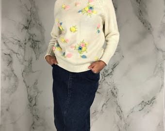 Vintage Rose Pullover Sweater | Zip Back | XS | S