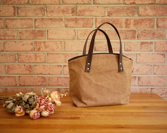 Waxed Canvas Zipper Tote in Spice- Vegan Day Bag (Made to Order)