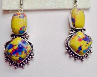 Sterling Silver Mosaic Jasper Drop Earrings