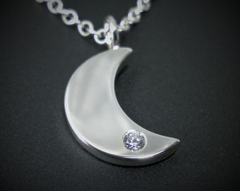 Sterling Silver Diamond Moon Necklace Pendant - Sterling Silver Moon Necklace, Sterling Silver Moon Pendant, Sterling Diamond Necklace, Moon