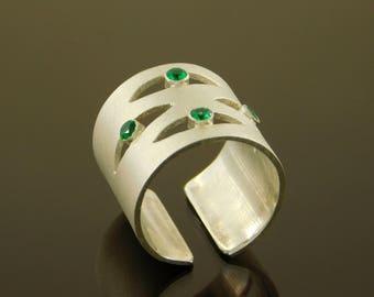Wide boho ring, Evil eye ring, Wide band ring, Wide Satin ring, Satin ring, Zirconia ring, Bold ring, Silver ring, Boho ring, Eye ring