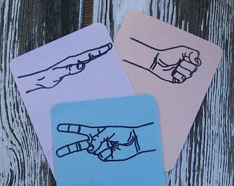 Rock Paper Scissors RPS ATC ACEO Rubber Stamp Set of 3
