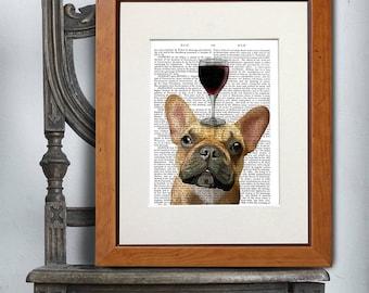 Bulldog_French_DogAuVin_French Bulldog Print Frenchie Art French Gift Cute French Bulldog Funny illustration Gift for Wife Wall hanging Art