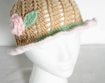 Spring Rose Crocheted Hat