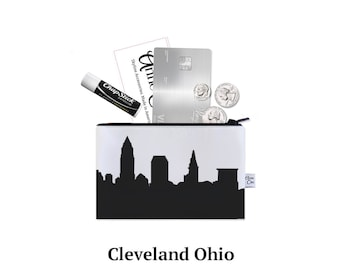 CLEVELAND Skyline Mini Purse. Coin Purse. Lipstick Purse. Business Card Holder. Credit Card Case. Skyline Silhouette Purse. Gifts for Her.