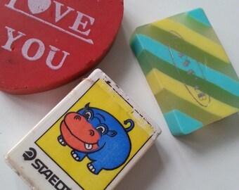 Vintage, 80s, 1980s, eraser, Love heart, staedtler Germany, hippo, pops club, rubber, gommi, gommini, by NewellsJewels on etsy