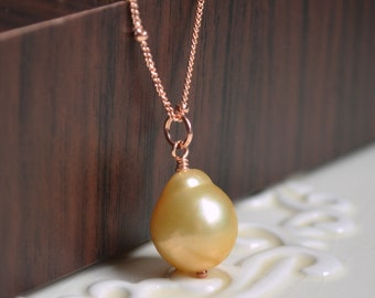 Soft Yellow Pearl Necklace, Rose Gold, Satellite Chain, Simple Pink Gold Jewelry, Large Pendant, Free Shipping