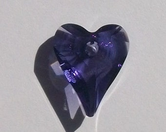 Swarovski Elements Crystal Pendant Wild HEART Pendant Style 6240 TANZANITE - Available in 12mm, 17mm and 27mm