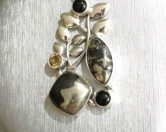 Pyrite In Magnetite Healer's Gold, Citrine and Black Onyx Pendant Necklace