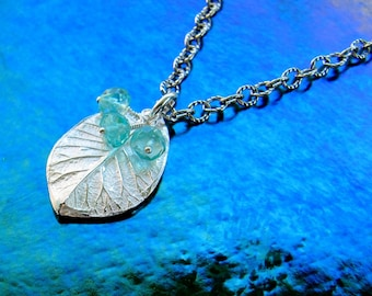 Tiny Fine Silver Leaf with Apatite Rondelles on Etched Sterling Chain