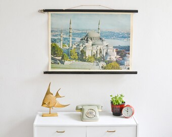 Istanbul print, Istanbul poster, Mosque Poster, Turkey print, Istanbul souvenir, pull down chart, educational chart, wall chart,school chart