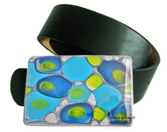 Large Metal Belt Buckle Hand Painted Enamel Turquoise Cobalt and Lime Green Mod Inspired for Snap Belts Color Options Available