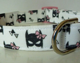 "Super Hero Bat Girl Dog Collar - Girl Dog Collar - Modern Girl Power Dog Collar - Super Hero Collar Pink and Black - ""Bat Girl"""