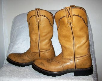 Vintage Men's Tan Leather Cowboy Work Boots by Twisted X Size 9 1/2 Only 18 USD