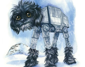 "AT-AT Walker Dog - Watercolor 8x10"" print"