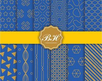 Royal Blue Digital Paper, Royal Digital Paper, Gold Digital Ppaer, Gold Foil Digital Paper, Navy Blue and Gold Papers, Royal Blue Background