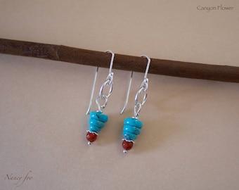 Turquoise Earrings - Carnelian Earrings - Turquoise Jewelry - Gemstone Earrings - Stone Earrings - Nature Jewelry - December Birthstone
